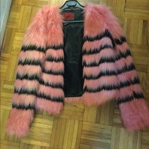 Jackets & Blazers - Sexy pink Faux fur jacket striped  faux hipster